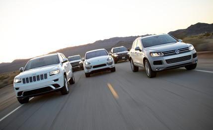 2014 #Jeep Grand Cherokee Summit #EcoDiesel #4X4 vs. 2013 #Volkswagen Touareg #TDI, 2013 #Mercedes-Benz ML350 #BlueTec 4MATIC, 2013 #Porsche Cayenne #Diesel, 2013 #BMW X5 xDrive35d  We rustle up five #SUVs from the most competitive #diesel segment in the U.S.