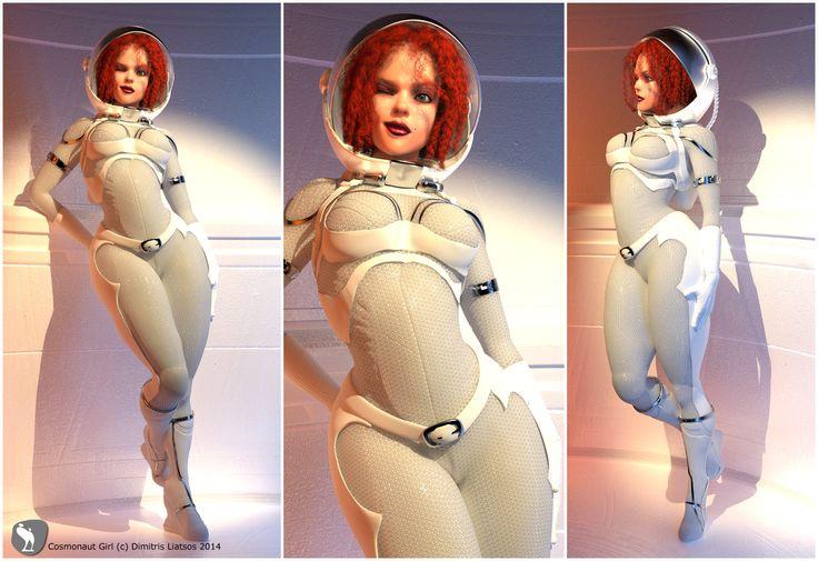 Personal piece. Cosmonaut Girl _ Zbrush,Maya. Original idea/concept _ Thanos Tsilis.