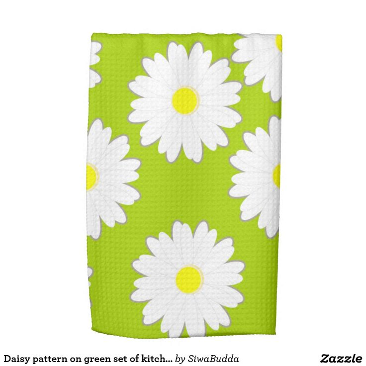 Daisy pattern on green set of kitchen towels