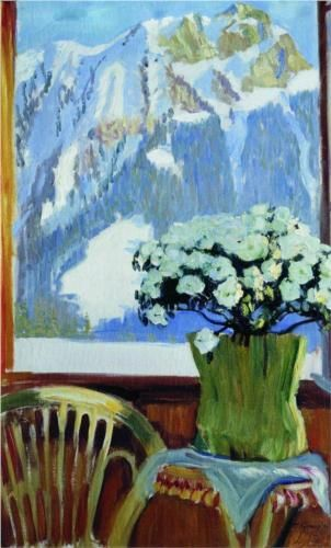 Flowers on the balcony - Boris Kustodiev