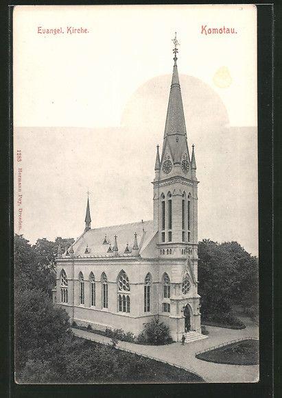 old postcard: AK Komotau / Chomutov, Evangelische Kirche