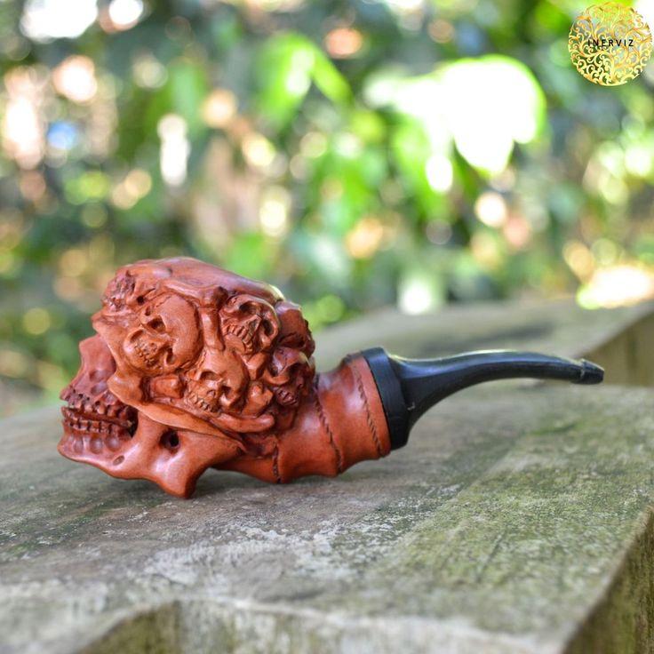Hand Carved Wooden Tobacco Pipes Cigarette Skulls Carving Ebonit Stem PR17
