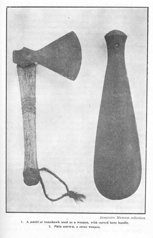 1. A patiti or tomahawk used as a weapon, with carved bone handle. 2. Patu onewa, a stone weapon. Dominion Museum collection