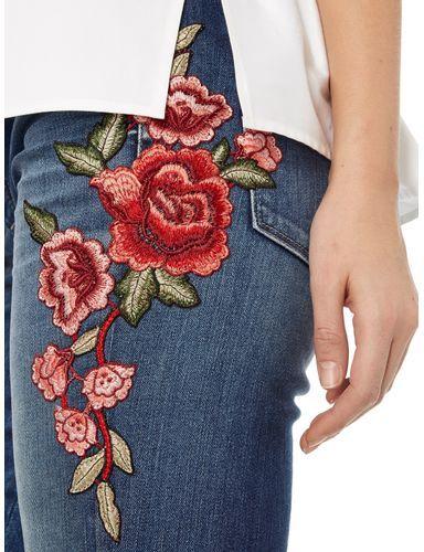 CAMBIO Slim Fit 5-Pocket-Jeans mit floralen Stickereien in Blau / Türkis online kaufen (9612291) | P&C Online Shop