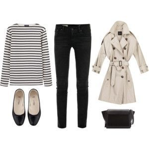Audrey Hepburn Style Inspiration striped top + highwaisted jeans + ballet flats + trench + cambridge satchel