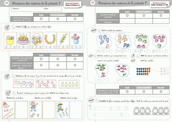 Fiches et évaluation de maths CP