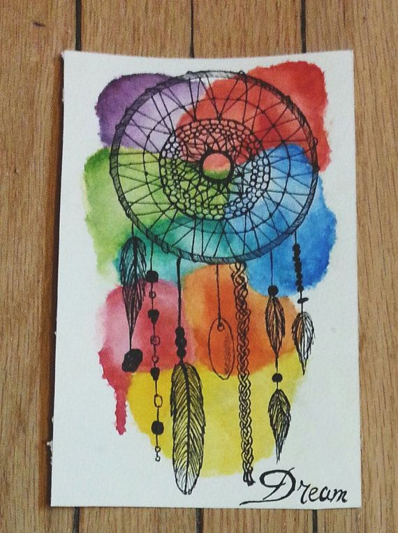 Watercolour paintings of dream catchers by MinervaCSart on Etsy