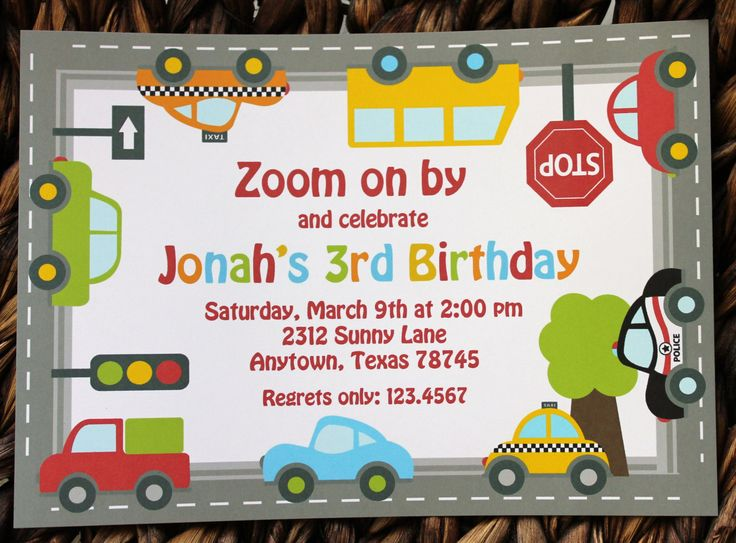 Traffic Jam Birthday Invitations. $1.00, via Etsy.
