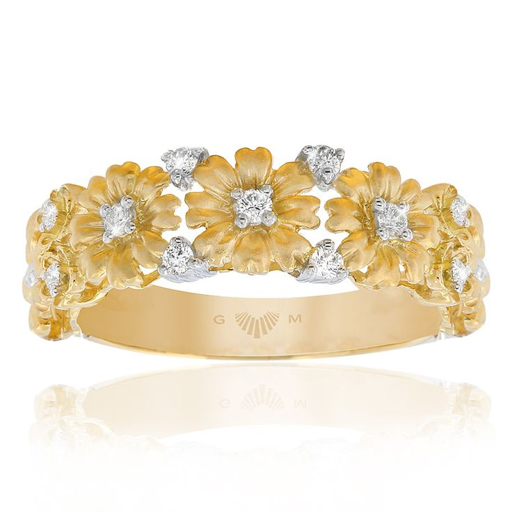 Delicately feminine Daisy floral ring with diamonds. In 18ct yellow gold. Fleur de Lis rings are custom made for your finger size. Delivery is approximately 6 weeks. Pre order now.