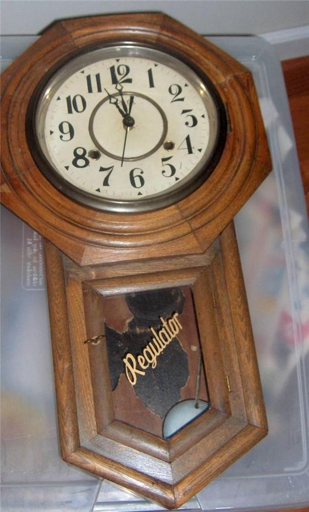 Antique Vintage Schoolhouse Regulator Clock Royal 6371