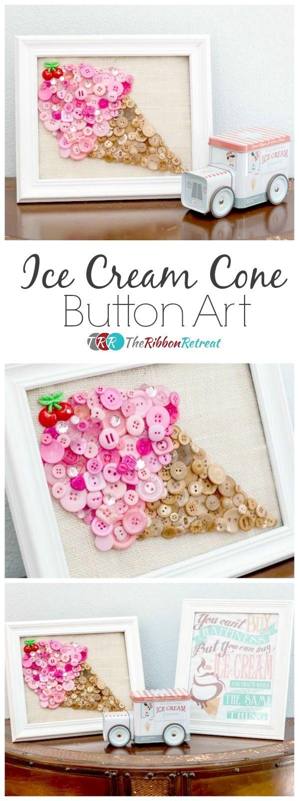 Ice Cream Cone Button Art - The Ribbon Retreat Blog