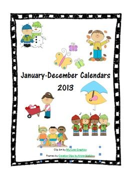 Parent Communication/School Calendars for every month in 2013