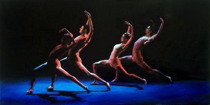 homenaje al Grupo Cadabra, compañía independiente de danza dirigida por Anabella Tuliano. #painting #oil #chiaroscuro #stage #dance #dancing