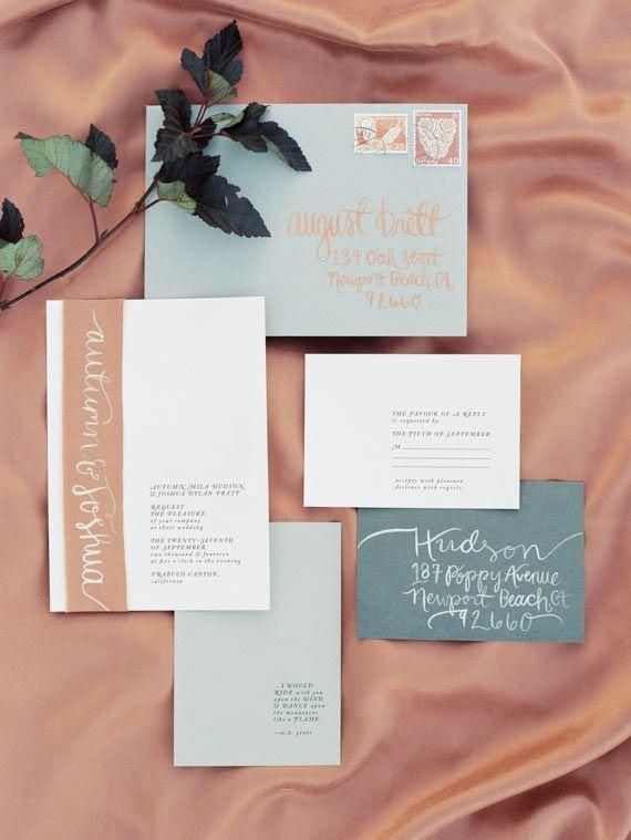 Color Inspiration: Trending Copper Wedding Ideas in 2015 - wedding invitation idea; Ashley Kelemen via 100 Layer Cake