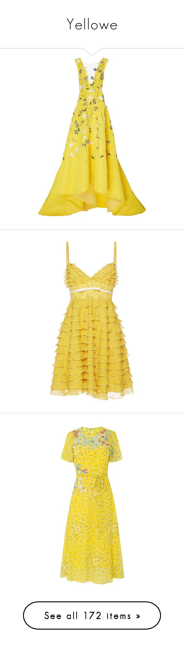 """""""Yellowe"""" by jckyleeah ❤ liked on Polyvore featuring yellow, dresses, gowns, evening gown, floral evening gown, silk dress, yellow gown, floral dresses, high low dresses and giambattista valli"""