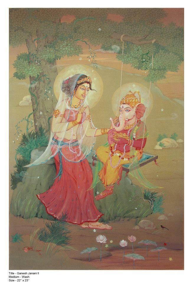 Sri Ganesha and Maa Parvati
