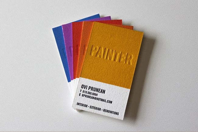 Business Cards for a painter in different colors