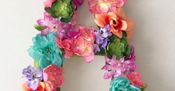 Flor personalizada carta carta Floral, arte de pared de cuarto de niños, guardería arco iris, decoración fiesta de cumpleaños, decoración de tema hawaiano, beb…