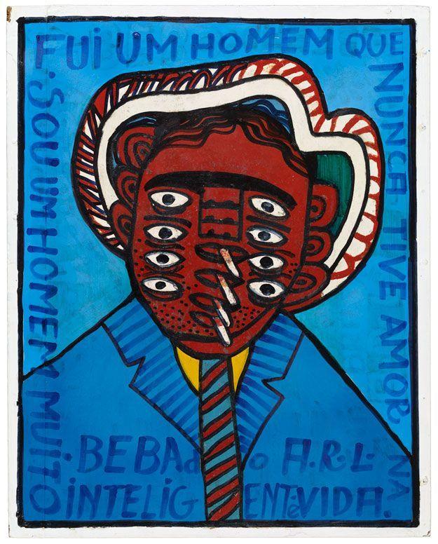 """""""Bebado"""", Antonio Roseno de Lima, non daté (peinture synthétique sur papier cartonné fixé sur un cadre de bois renforcé avec du plâtre, 58 x 46 cm)"""