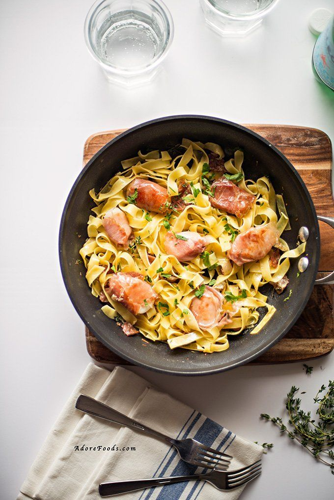 Prosciutto Wrapped Scallops with Fettuccine @FoodBlogs