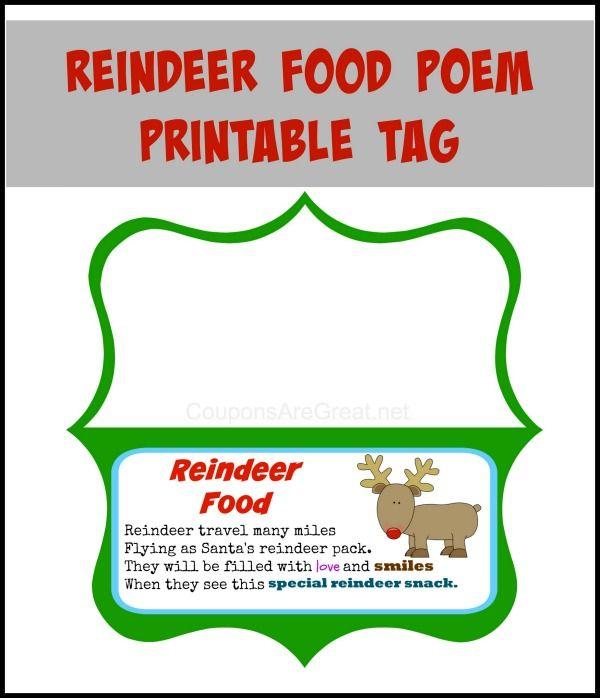 Reindeer Food Poem Printable Craft - Coupons Are Great