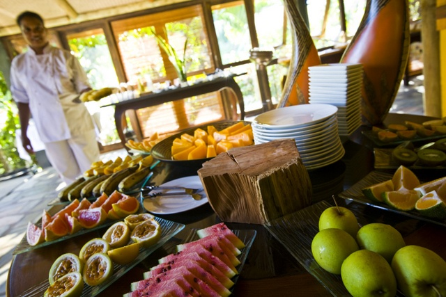 I'm sure you'd take some fruits. Water-melon, mango, passion fruit, apples... It's at Lakaz Chamarel, in Mauritius.