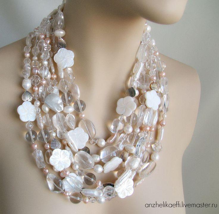 Купить Колье Белые цветы Жемчуг Серебро 925 Жемчужное ожерелье Бусы