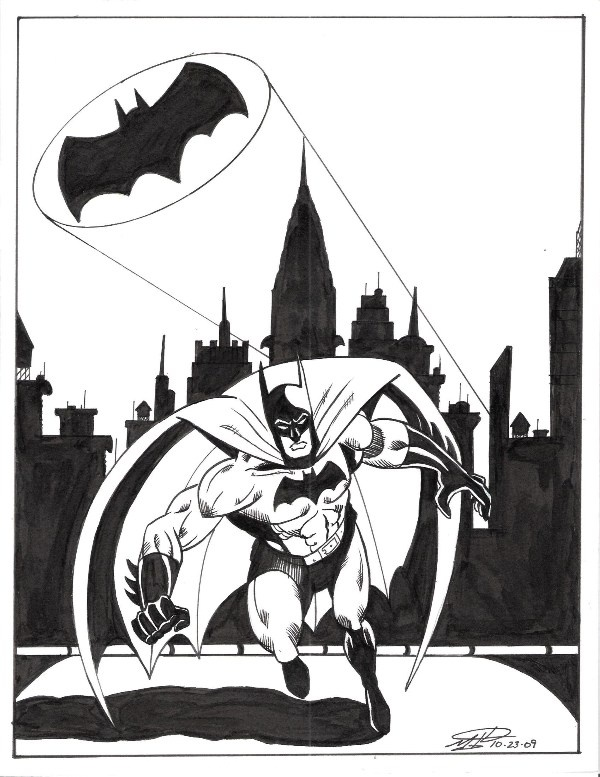 Batman, in the September 2011: The Justice League of America Comic Art Sketchbook