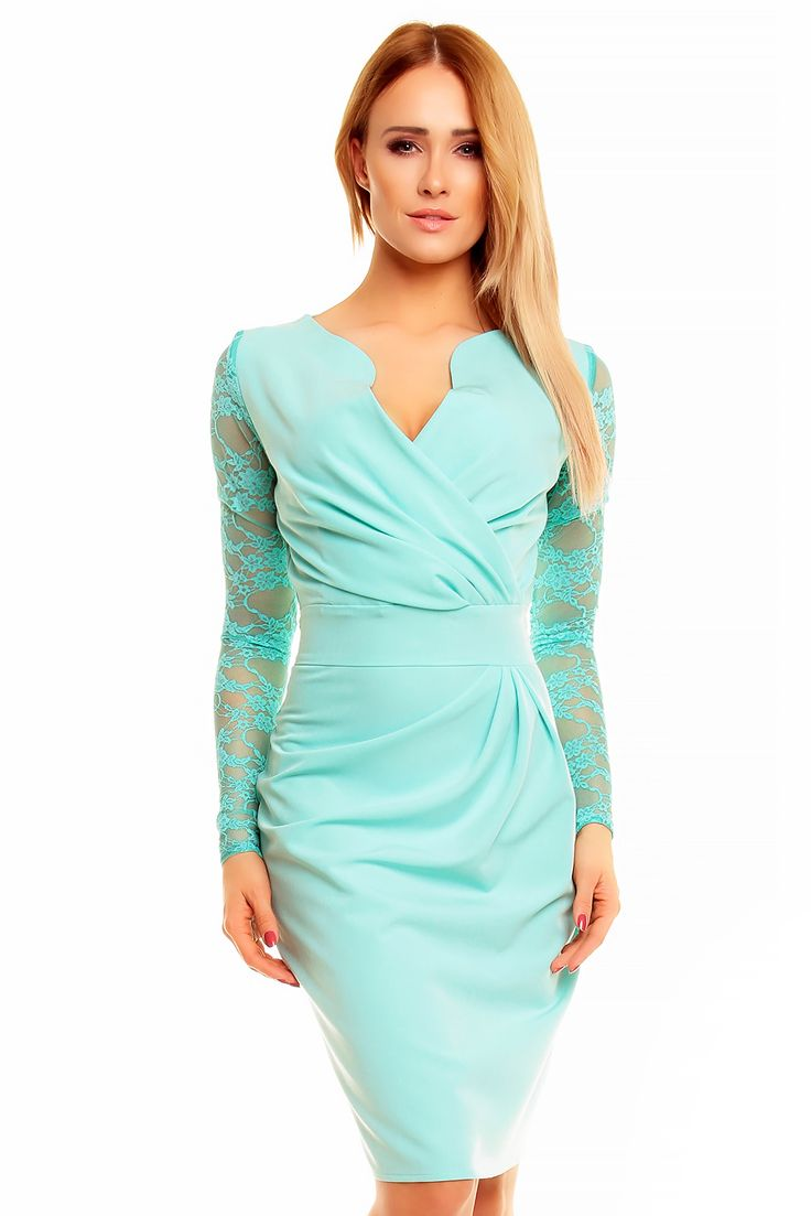 Sukienka z kopertowym dekoltem i koronką KM56K-5 mięta Kartes-Moda