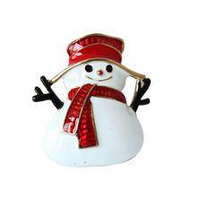 Placcato oro di natale pupazzo di neve costume spilla a buon mercato rosso strass spille di natale lotto clip collare per la sciarpa fibbia 20149023(China (Mainland))