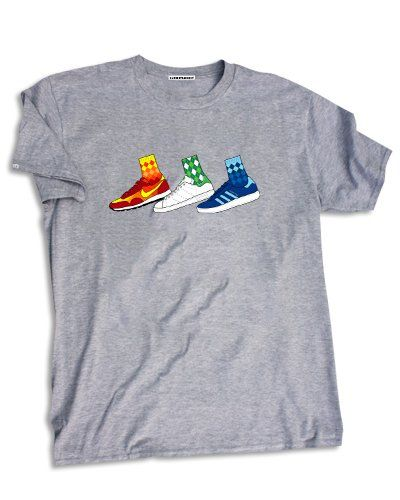 Who doesn't love a wacky sock and trainer combo? We have chosen some of our favourites and stuck them on a tee. 100% Heavyweight Ringspun...
