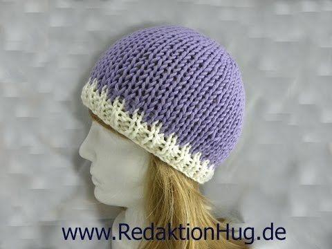 Knooking - Mütze von oben geknookt mit hatnut XL 55 - YouTube