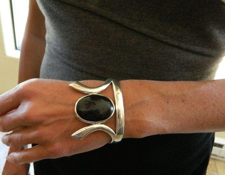 Vtg Mexico Sterling Silver & Onyx Chunky Art Deco Bracelet Taxco 77.5 Grams