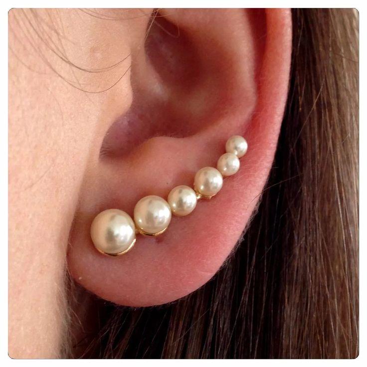 Brinco Em Prata Folheado A Ouro 18k Ear Cuff Pérolas - R$ 99,90 em Mercado Livre