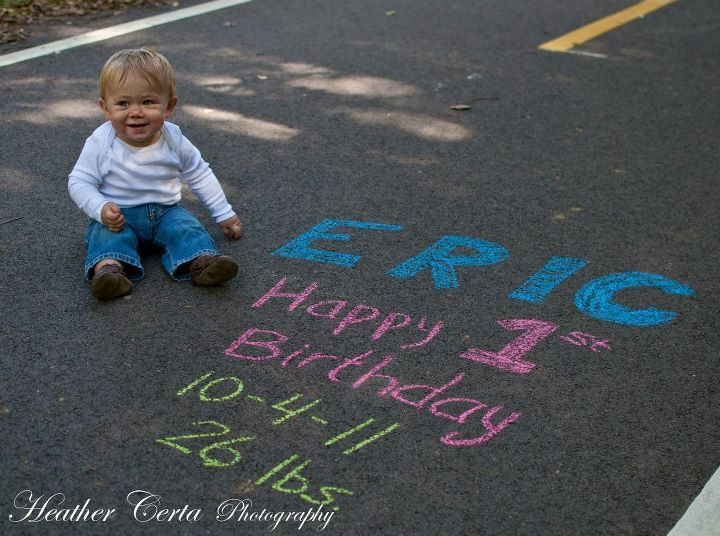 1st Birthday shoot; now to remember; note to self: pick up colored chalk and do this on A's first birthday