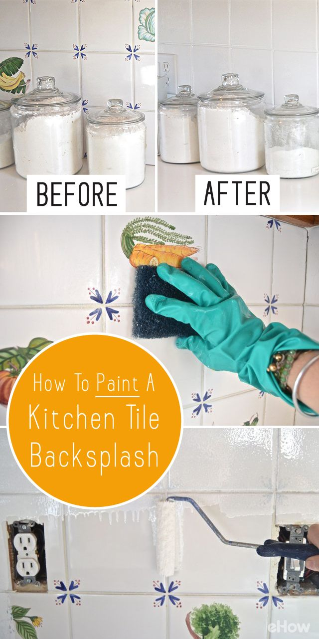 Painted tiles in bathroom - How To Paint A Kitchen Tile Backsplash