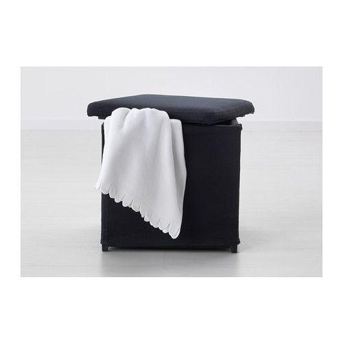 BOSNÄS Footstool with storage, Ransta black Ransta black