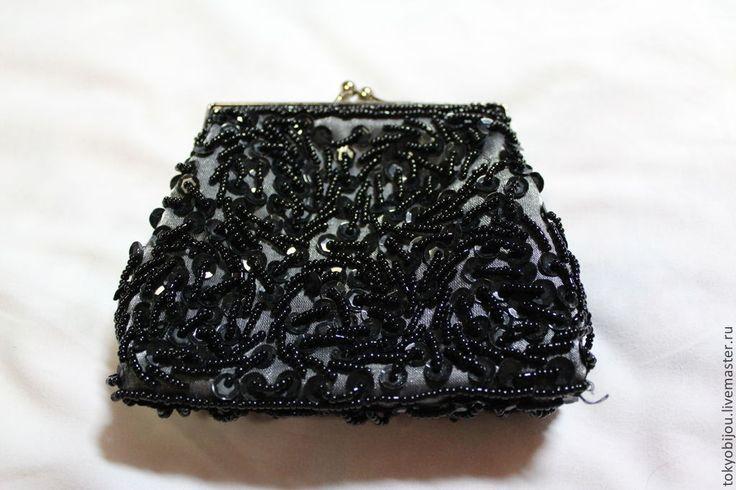 Купить Винтажная сумочка косметичка кошелек из шелка с бисером и пайетками - черный, винтаж, антиквариат