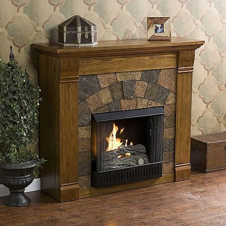 **NEW**Southern Enterprises Kareem Gel Fuel Fireplace, Antique Oak   Walmart