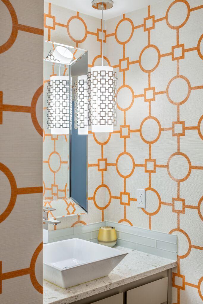 Design by Vanillawood | Jonathan Adler Inspired | Modern | Palm Springs | Wallpaper | Orange