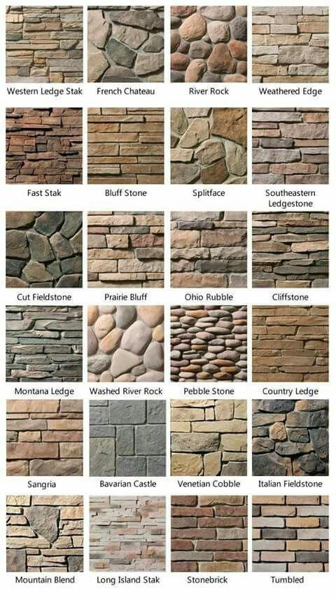 Tipos de piedra, laja y ladrillo