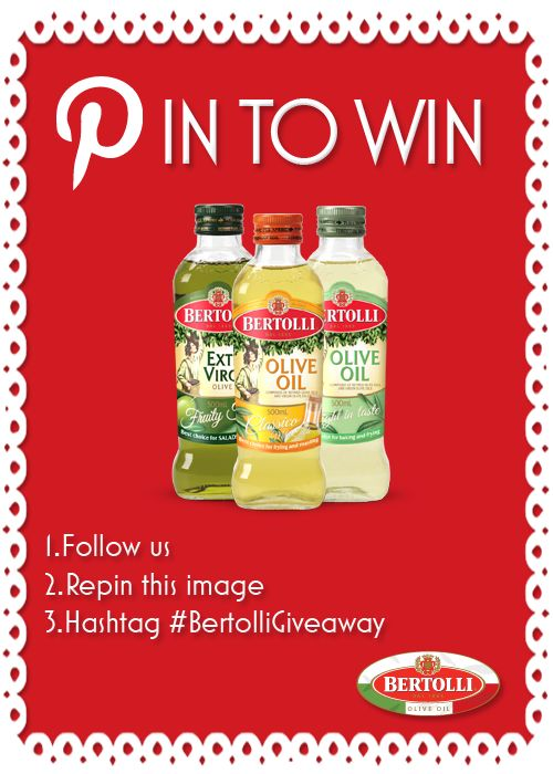 Bertolli Giveaway!    Terms and Conditions   1. To enter you must first follow Bertolli Olive Oil Australia on Pinterest, repin this image and use the Bertolli Olive Oil hashtag #BertolliGiveaway. 2. Bertolli Olive Oil will alert the winner by commenting on their repinned post and will receive a pack of 3 Bertolli Olive Oils.  3. This competition will close on the 16/08/2013. 4. This competition can be entered by Australian candidates only. #givaway #competition #offer #pintowin #red