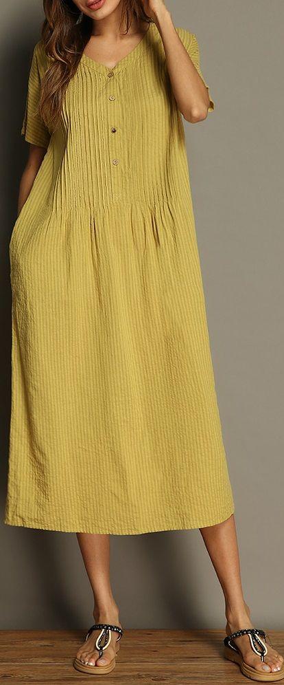 UP TO 49% OFF! Plus Size Vintage Pure Color V-neck Pocket Short Sleeve Women Dre... 2