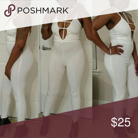 Medium all white jumpsuit - brand new Sexy club wear romper jumpsuit ... Still currently selling in boutique Pants Jumpsuits & Rompers