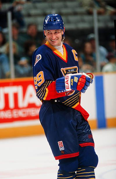 Wayne Gretzky of the St Louis Blues in action against the San Jose Sharks at the San Jose Arena on March 15 1996 in San Jose California The Blues...