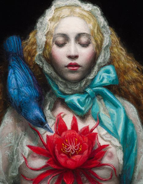 """""""Flower of Soul"""" (Detail) Oil on Board 13.75""""x10.75"""",2014 by Chie Yoshii"""