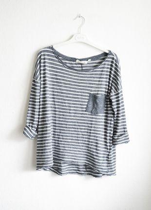koszulka bluzka top w paski pasy paseczki biało niebieska biała oversize marynarska