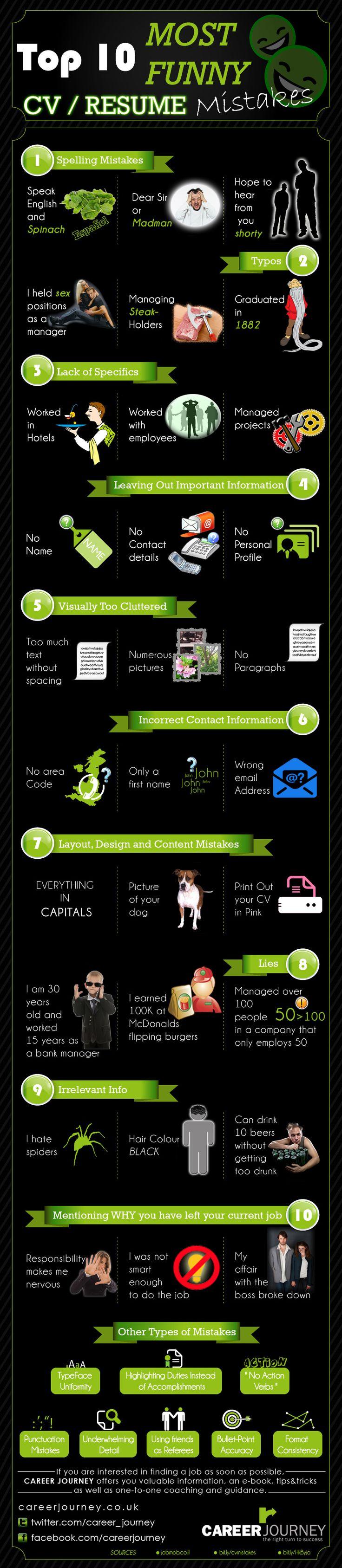 Top Ten Funniest Resume/CV Mistakes #resume #tips #careerhowtos #design  Agility Resources | Social Agility www.AgilityResourcesInc.com
