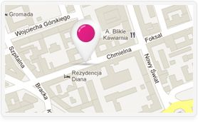 Our address : ul Chmielna 10 ! (near a lovely green square)