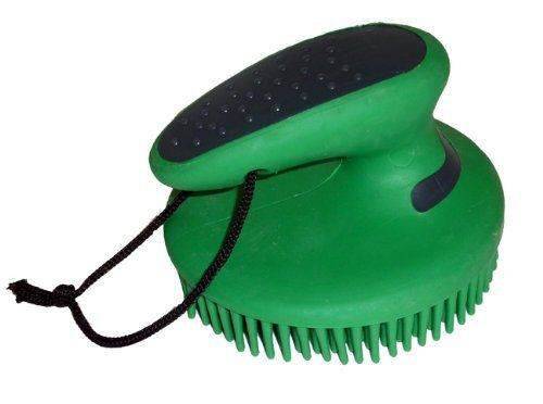 """Horse Grooming Fine Curry Comb Easy Grip Green by AJ. $8.00. Diameter: 4"""". Color: Green/Gray. Fine curry comb. Fine rubber bristles gently clean and message sensitive areas. Shaped rubber handle with raised bumps on back for easy grip. Come with nylon hanging strap."""